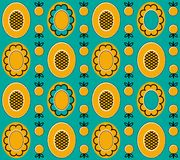 Yellow_background_2. Vector seamless pattern with flowers and butterflies.  You can use it for packaging design, textile design and scrapbooking Stock Images