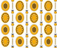 Yellow_background_1. Vector seamless pattern with flowers and butterflies.  You can use it for packaging design, textile design and scrapbooking Royalty Free Stock Photos