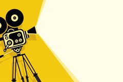 Yellow background with vintage movie camera. Vector yellow background with lighting old fashioned movie camera on the tripod. Can used for banner, poster, web stock illustration