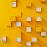 Yellow Background, White and yellow cubes in a random pattern. 3d illustration Royalty Free Stock Photo