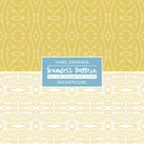 Yellow backgrounds with seamless patterns. Ideal for printing. Onto fabric and paper or scrap booking. Vector illustration Stock Photos