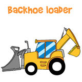 Yellow backhoe loader vector art Royalty Free Stock Photos