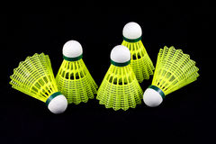 Yellow badminton shuttlecocks isolated on black Royalty Free Stock Images