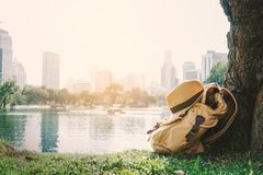 Yellow bag for backpack under the tree with city background stock image