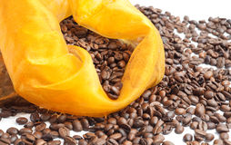 Yellow bag of coffee beans Royalty Free Stock Image