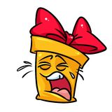 Yellow bag cry cartoon. Illustration isolated image character Stock Image