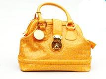 Yellow bag isolated on white Royalty Free Stock Photos