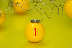 Yellow ball. With the number one on it Stock Photos