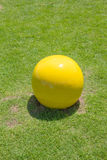The yellow ball on the green grass view. The yellow ball on the green grass is the modern decoration in the garden stock photos