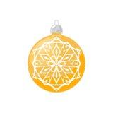 Yellow Ball with Snowflake  on White Stock Photo
