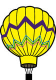Yellow balloon. Flying yellow balloon with a basket Stock Photo