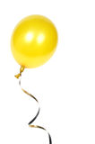 Yellow balloon. With ribbon isolated on white background Stock Photo