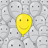 Yellow balloon with disgruntled gray balloons vector illustration Royalty Free Stock Image