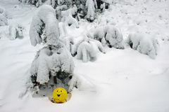 Yellow balloon. In the winter forest Royalty Free Stock Photos