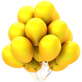 Yellow balloons. Bunch of yellow helium balloons. Party decoration. This is a detailed 3D render (Hi-Res). Isolated on white background Stock Photo