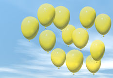 Yellow balloons. Yellow ballons floating in a blue sky Royalty Free Stock Photos