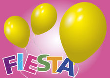 Yellow balloons fiesta. Two yellow baloons over a pink background. Fiesta vector illustration