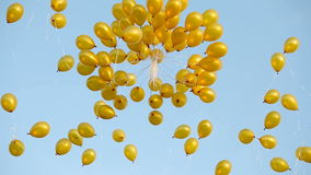 Yellow balloons fly