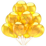 Yellow balloons (Hi-Res). Yellow helium balloons transparent and glossy. Holiday decoration concept. Party emotions. This is a detailed 3D render. Isolated on Royalty Free Stock Images
