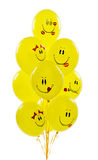 Yellow balloons smiles. Isolated on white Royalty Free Stock Photo