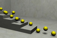 Yellow balls jumping by stair Royalty Free Stock Photo