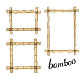 Yellow bamboo frames. Vector illustration. Royalty Free Stock Photos