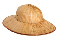 Yellow bamboo hat, isolated on white Stock Photography