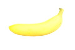 Yellow banan. Isolated on white background stock photography
