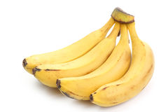 Yellow banana. Bunch isolated on white background Stock Image