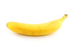 Yellow banana. The yellow banana is isolated on a white background Stock Photo
