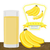 The yellow banana. Abstract vector illustration logo for whole ripe fruit yellow banana  green stem leaf cut sliced.Banana drawing consisting of tag label bow Stock Images