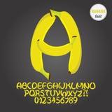 Yellow Banana Alphabet and Digit Vector Royalty Free Stock Photos