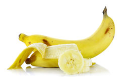 Yellow banana isolated on the white background Stock Photos
