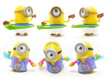 Yellow Banana Minion Toys Plastic Model from Despicable Me Movie in White Isolated Background vector illustration