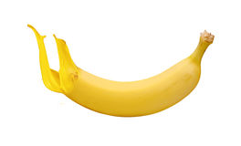 Yellow banana with paint splash Royalty Free Stock Photography