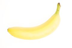 Yellow Banana. Ripe Yellow Banana on White Background Royalty Free Stock Image