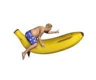 Yellow Banana Rocket Man Pointing Stock Image