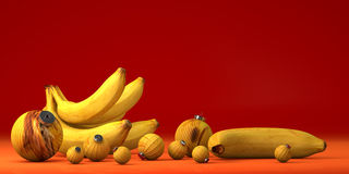 Yellow banana with toy decoration Royalty Free Stock Images