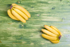 Yellow banana in the upper left corner of the yellow banana in t Royalty Free Stock Photography