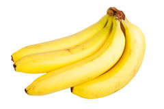 Yellow bananas. Some yellow bananas over a white background stock photo