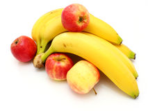 Yellow bananas apples Royalty Free Stock Image