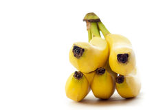 Yellow bananas. Beautiful ripe yellow bananas were photographed on a white background Royalty Free Stock Photography