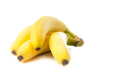 Yellow bananas. Beautiful ripe yellow bananas were photographed on a white background Royalty Free Stock Images