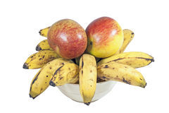 Yellow Bananas and Red Apples in White Bowl Stock Images