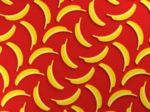 Yellow bananas on red background. Flat lay design. 3d rendered illustration Royalty Free Stock Photo