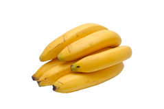 Yellow bananas. Some yellow bananas on a white background stock photography