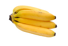 Yellow bananas. Some yellow bananas on a white background stock photos