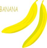 Yellow bananas on white background, hand drawing, painting Royalty Free Stock Photography