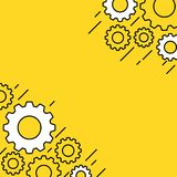 Yellow banner with gear wheels Royalty Free Stock Photo