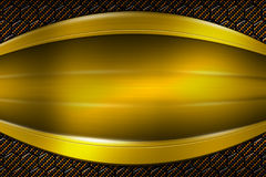 Yellow banner on gold carbon fiber hexagon. Background and texture. 3d illustration vector illustration